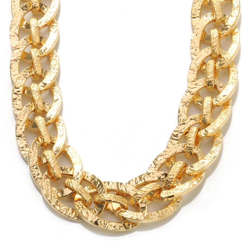 "136-798 - Toscana Italiana 18K Gold Embraced™ 18"" Textured Fancy Chain Link Necklace"