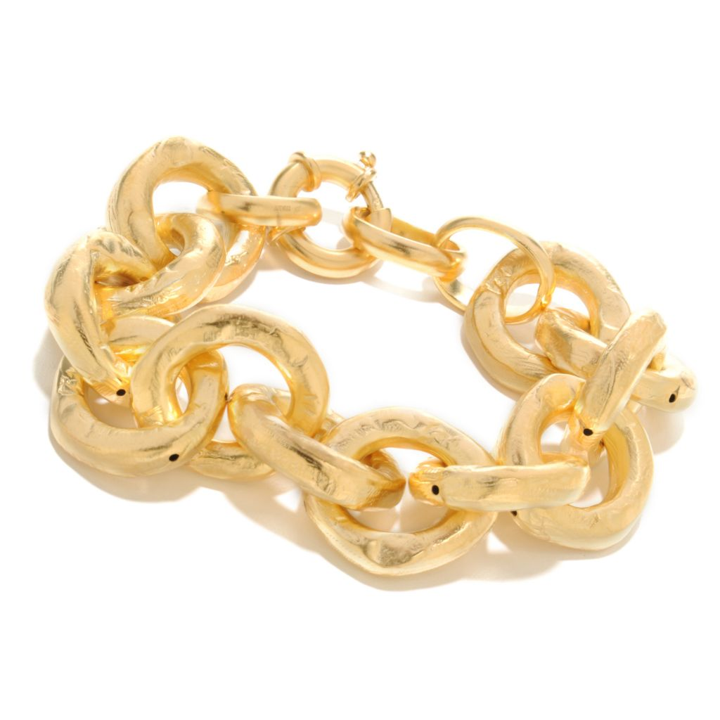 "136-806 - Toscana Italiana 18K Gold Embraced™ 8"" Hammered Chain Link Bracelet"