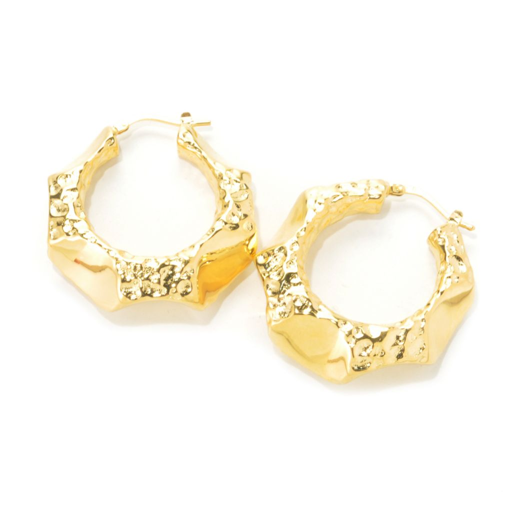 "136-808 - Toscana Italiana 18K Gold Embraced™ 1.25"" Hammered & Polished Geometric Hoop Earrings"