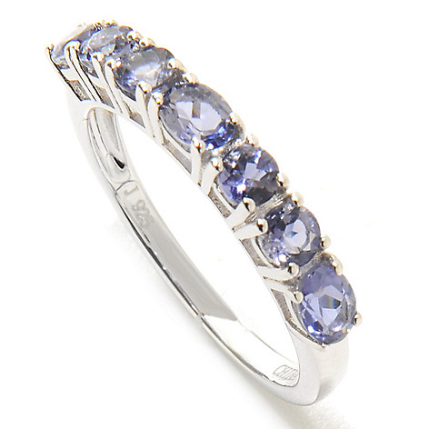 136-809 - Gem Insider™ Sterling Silver Gemstone Stack Band Ring