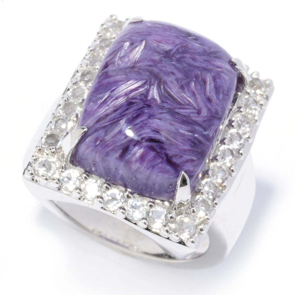 136-810 - Gem Insider Sterling Silver 21 x 16mm Charoite & White Topaz Rectangle Ring