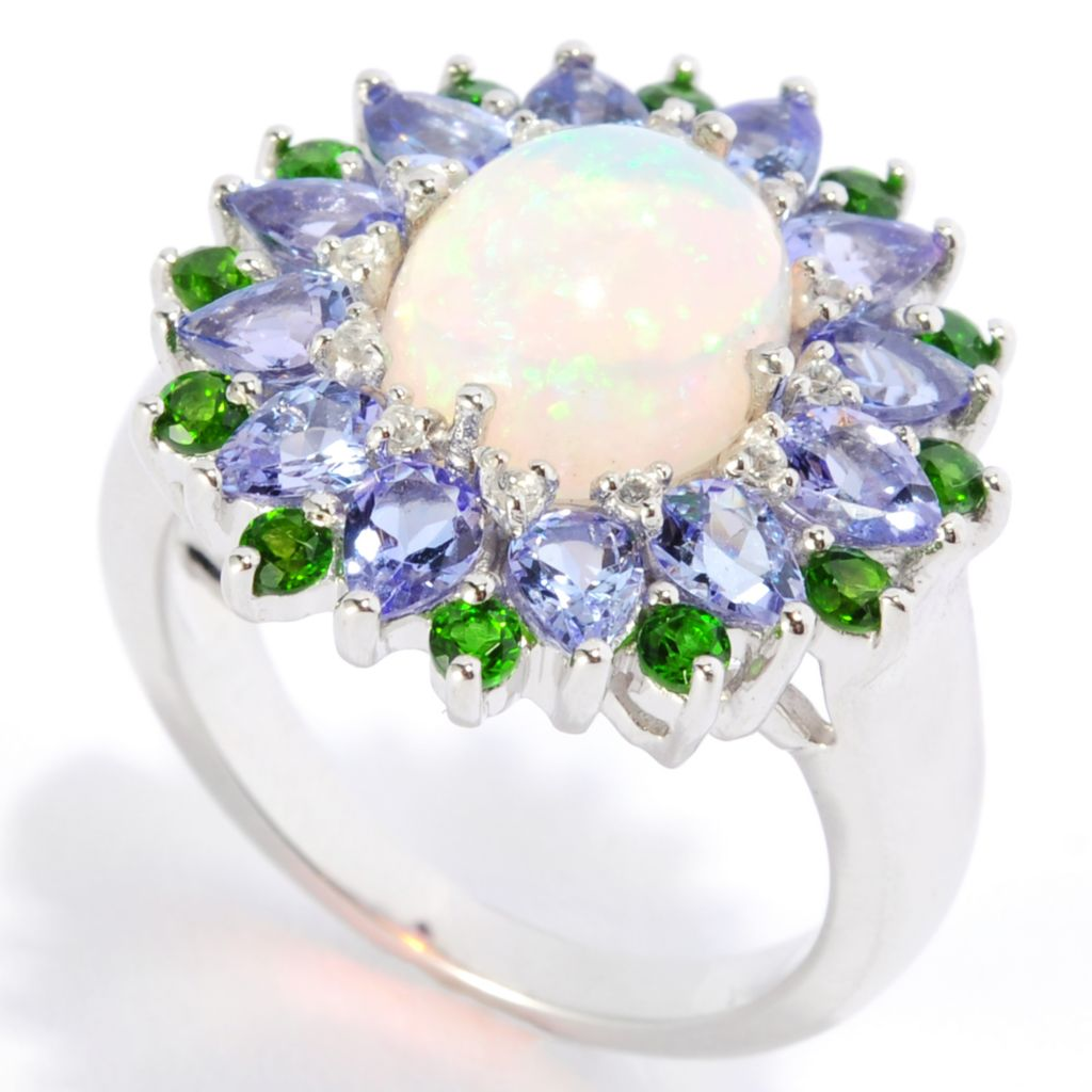 136-811 - Gem Insider Sterling Silver 10 x 8mm Ethiopian Opal & Multi Gem Fancy Halo Ring