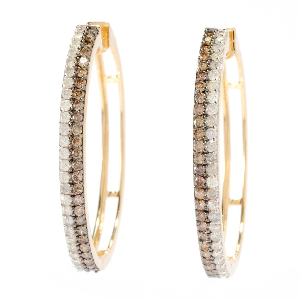 "136-812 - Beverly Hills Elegance 14K Gold 1.5"" 2.00ctw Mocha & White Diamond Oval Hoop Earrings"