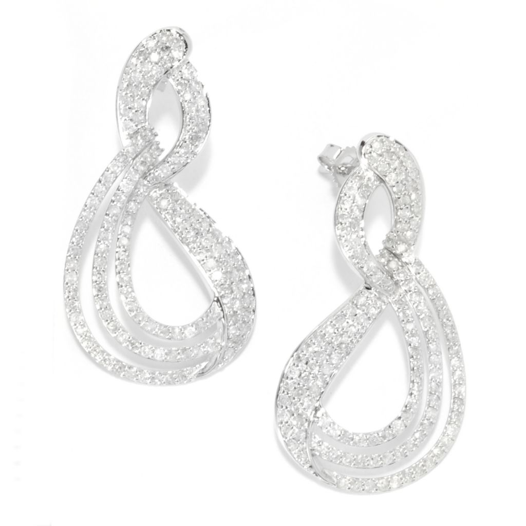 "136-814 - Beverly Hills Elegance 1.25"" 14K White Gold 1.60ctw Diamond Infinity Earrings"