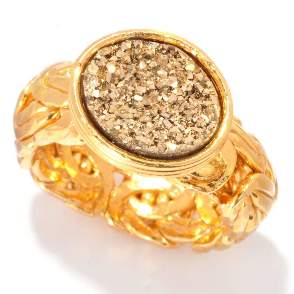 136-815 - Portofino 18K Gold Embraced™ 12 x 10mm Oval Drusy Byzantine Ring