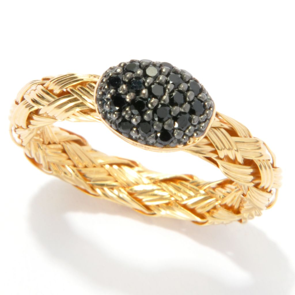 136-816 - Portofino 18K Gold Embraced™ Black Spinel Oval Cluster Braided Shank Ring