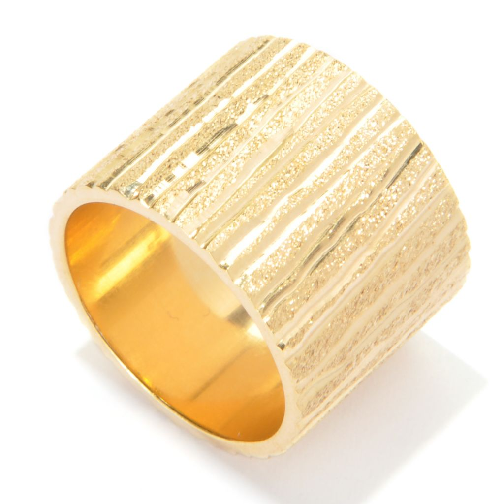 136-819 - Portofino 18K Gold Embraced™ Diamond Cut Panel Cigar Band Ring