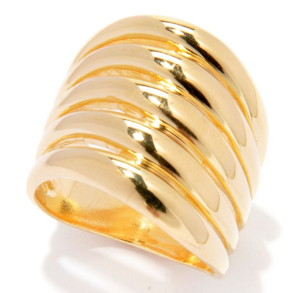 136-820 - Portofino 18K Gold Embraced™ High Polished Five-Panel Wave Band Ring