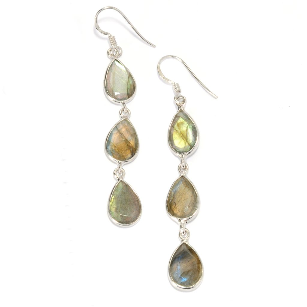 "136-824 - Gem Insider Sterling Silver 2.5"" 12 x 8mm Labradorite Trio Drop Earrings"