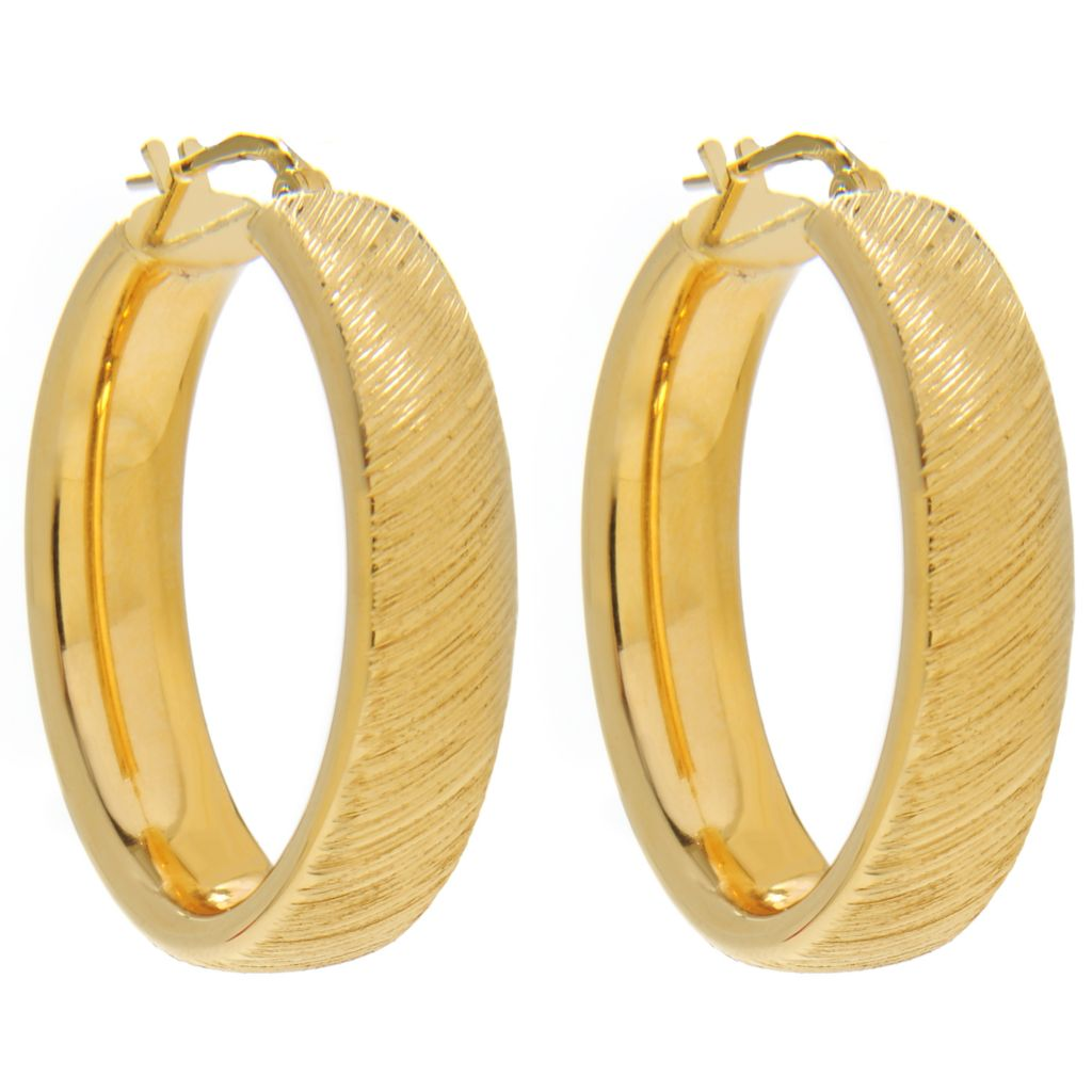 "136-830 - Portofino 18K Gold Embraced™ 1.25"" Polished & Brushed Oval Hoop Earrings"