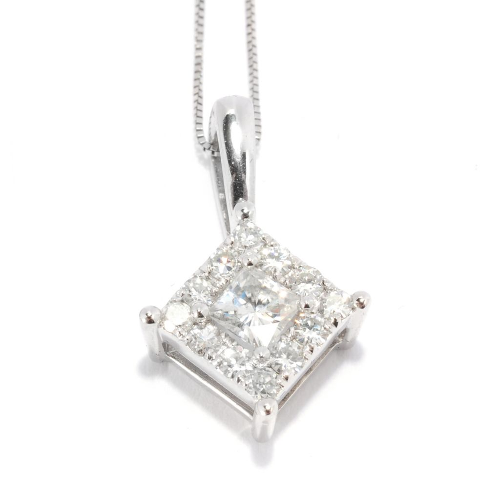 136-847 - Forever Brilliant® Moissanite 14K White Gold Diamond-Shaped Pendant w/ Chain