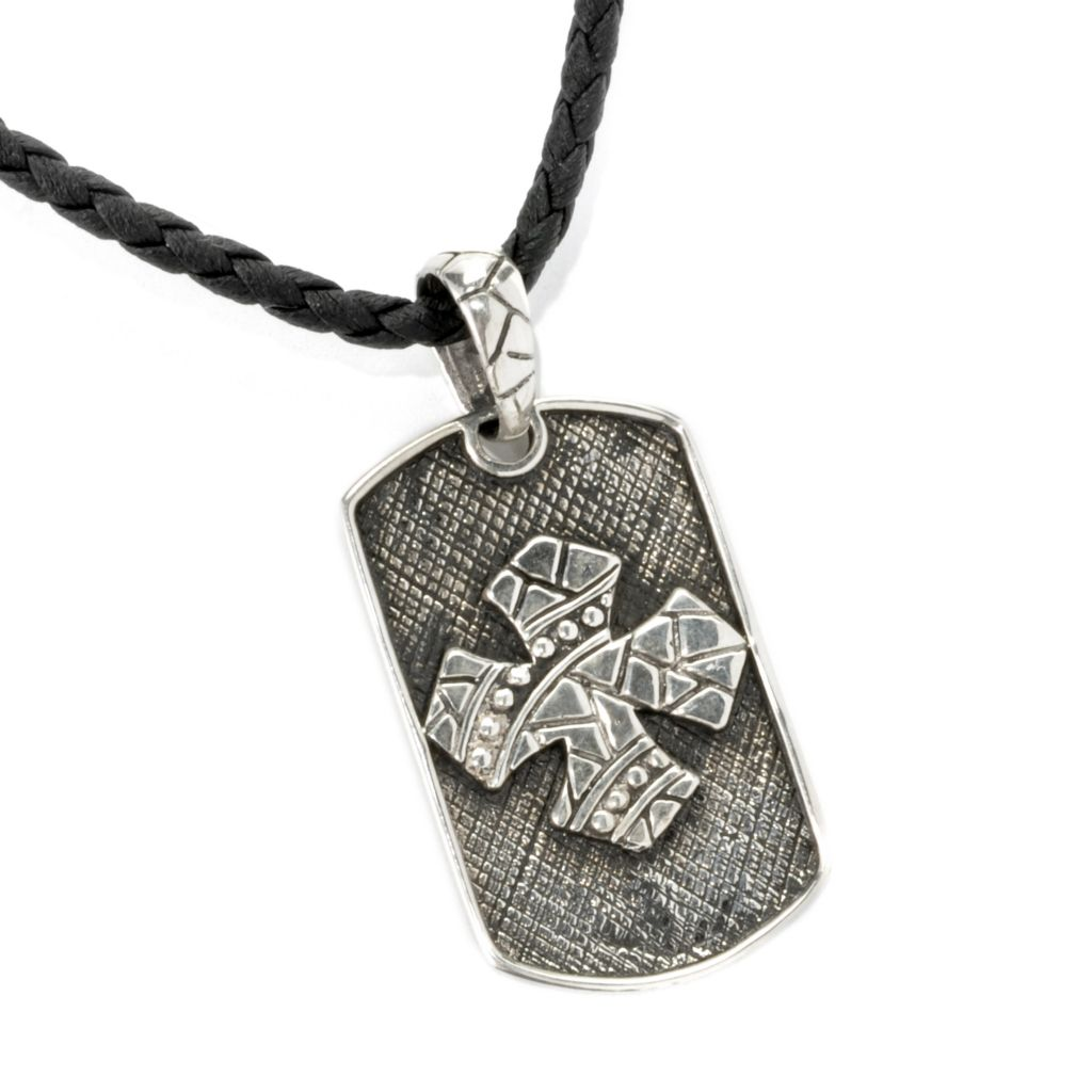"136-851 - Artisan Silver by Samuel B. Textured Cross Dog Tag Pendant w/ 20"" Toggle Cord"