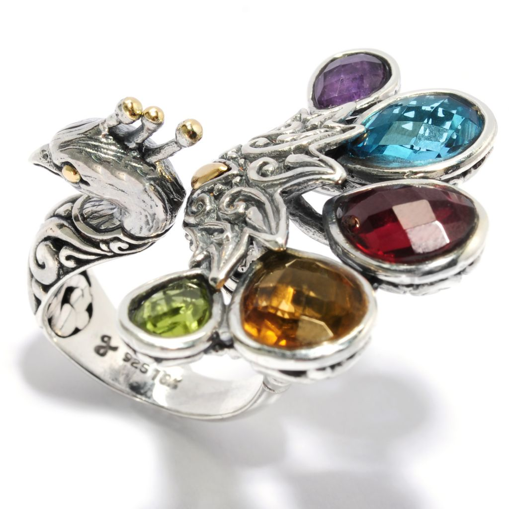 136-852 - Artisan Silver by Samuel B. Two-tone 8.59ctw Multi Gemstone Peacock Ring