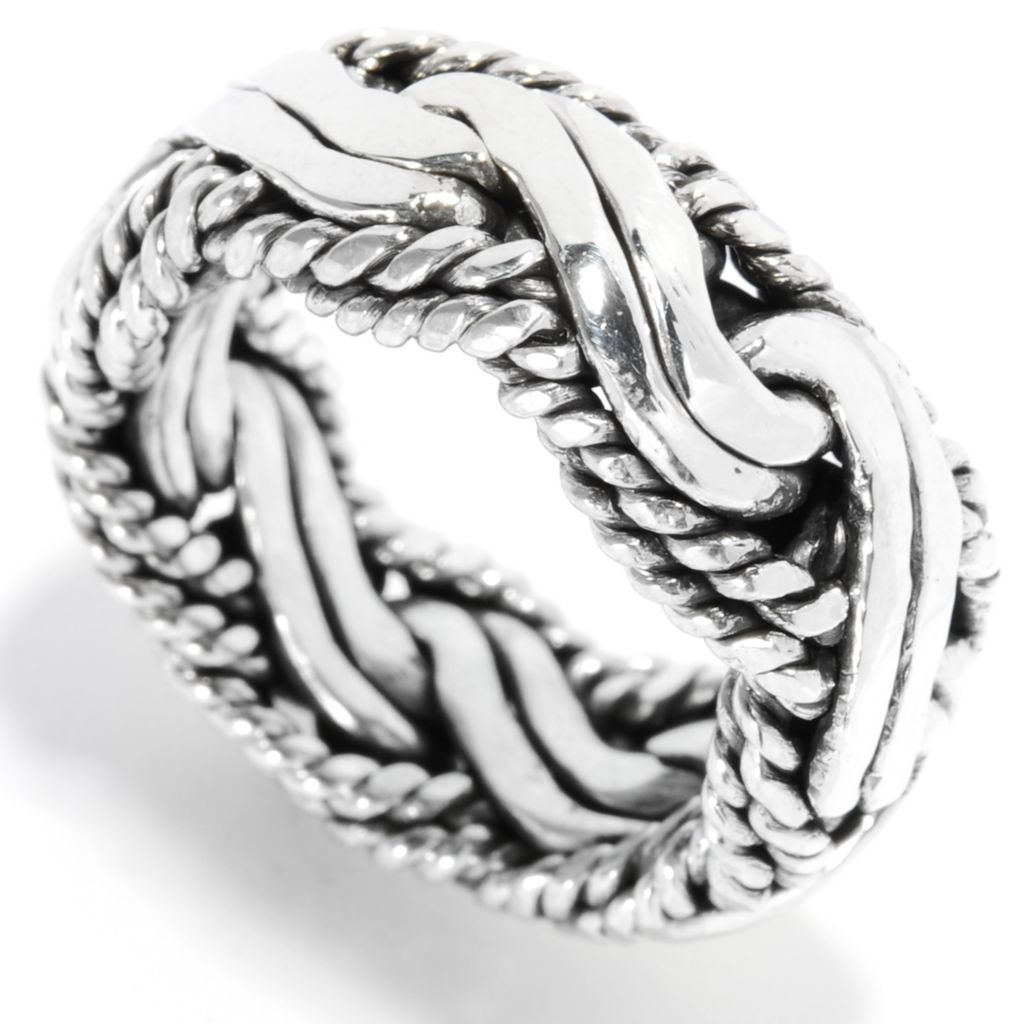 136-859 - Artisan Silver by Samuel B. Interlocking Wave Textured Band Ring