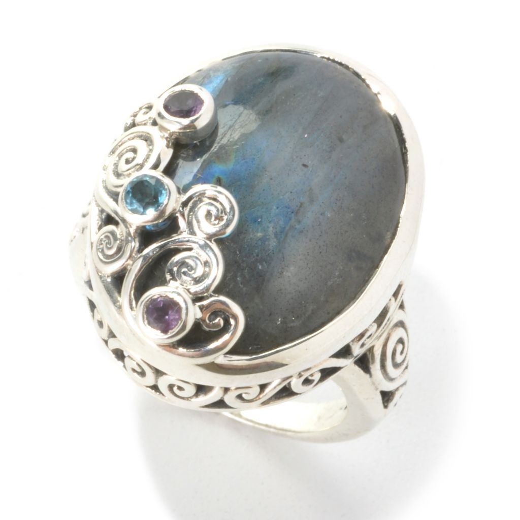 136-861 - Artisan Silver by Samuel B. 21 x 16mm Oval Labradorite & Multi Gem Ring
