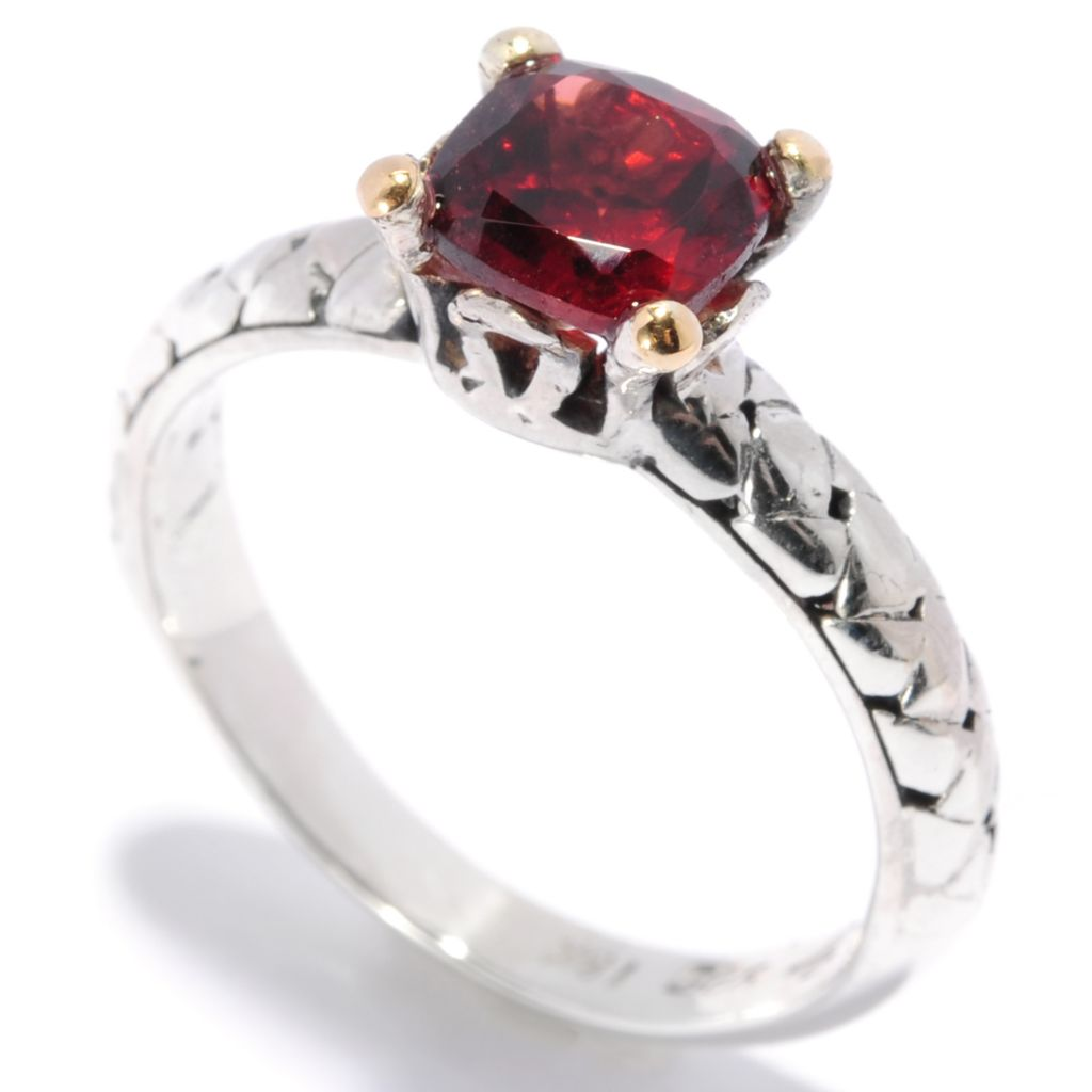 136-862 - Artisan Silver by Samuel B. Two-tone Gemstone Solitaire Textured Ring
