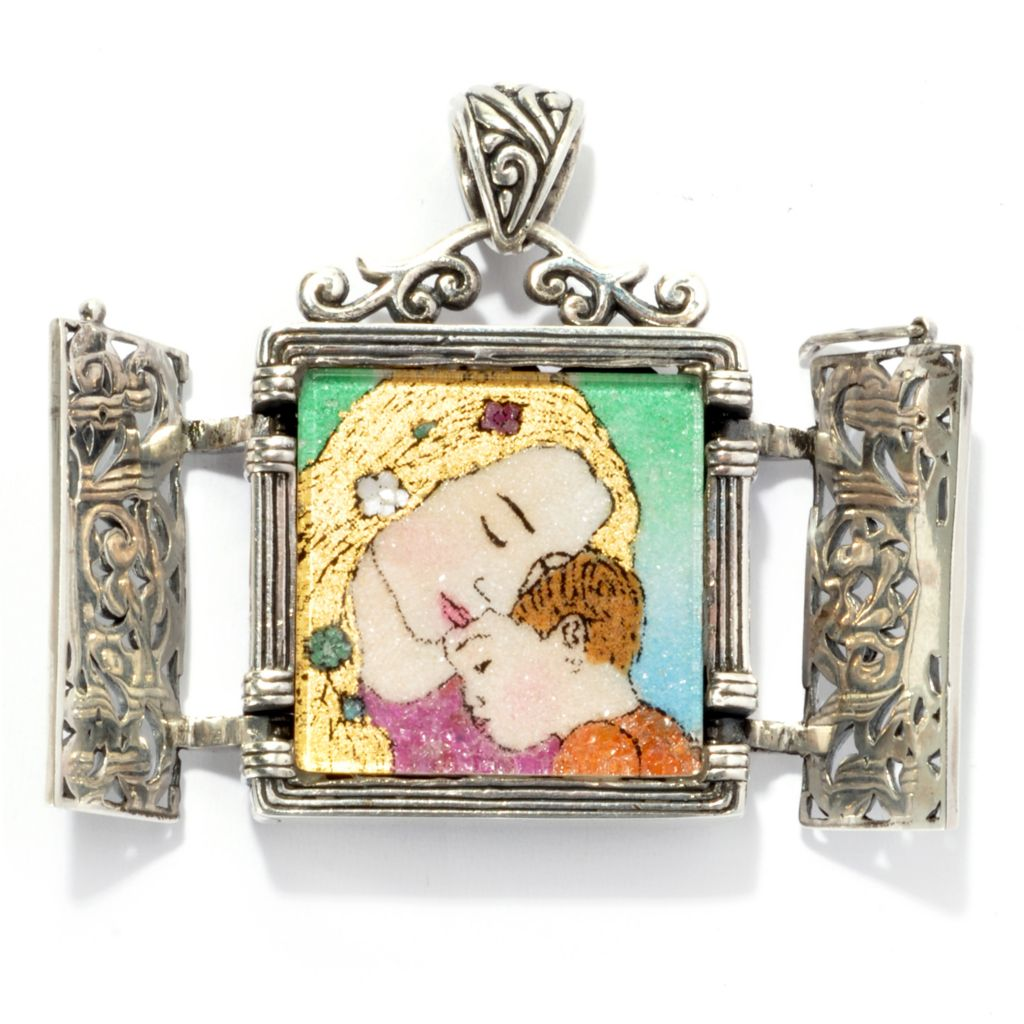 136-863 - Artisan Silver by Samuel B. Crushed Multi Gem Mother & Child Open Doors Pendant