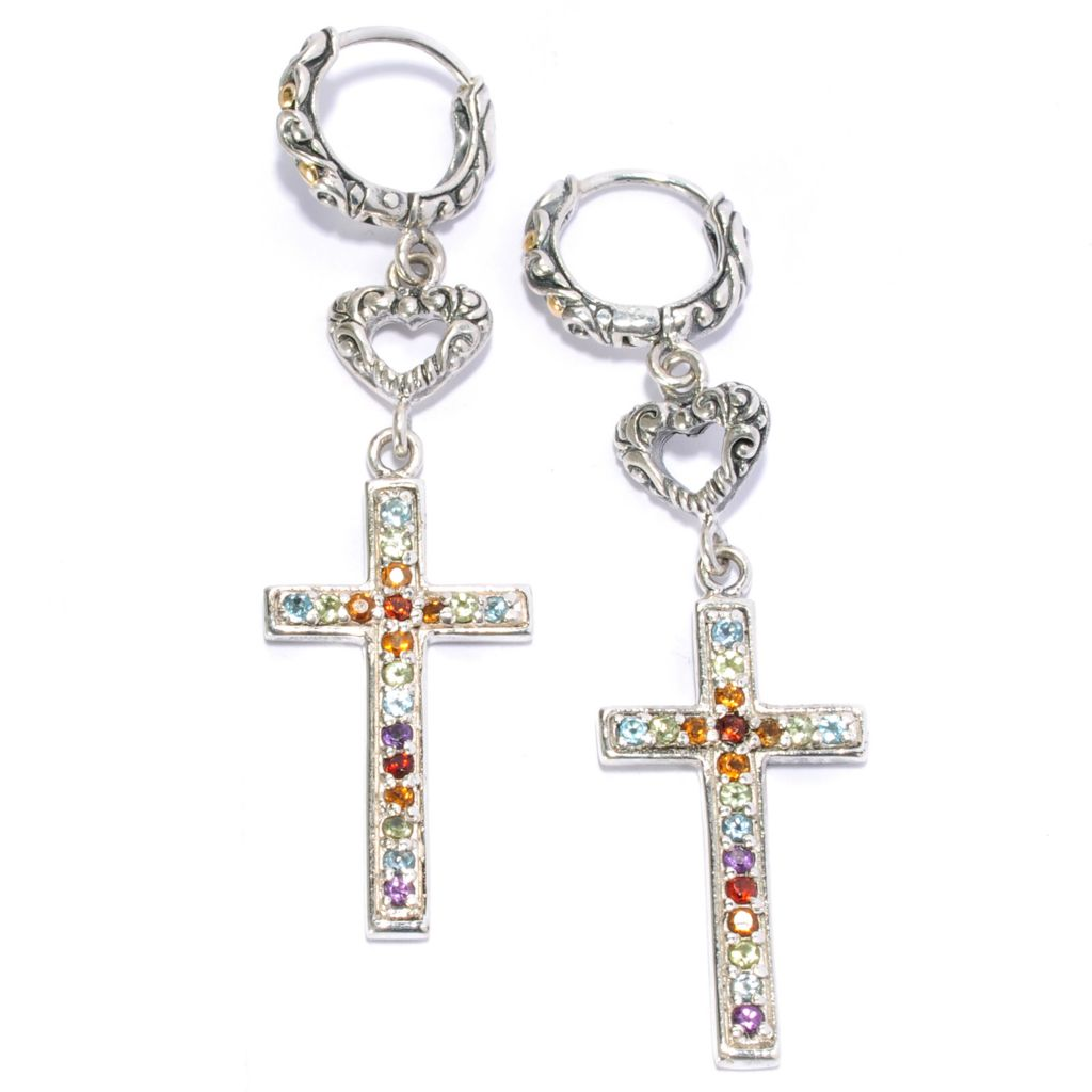 "136-866 - Artisan Silver by Samuel B. Two-tone 2"" Multi Gemstone Cross Earrings"