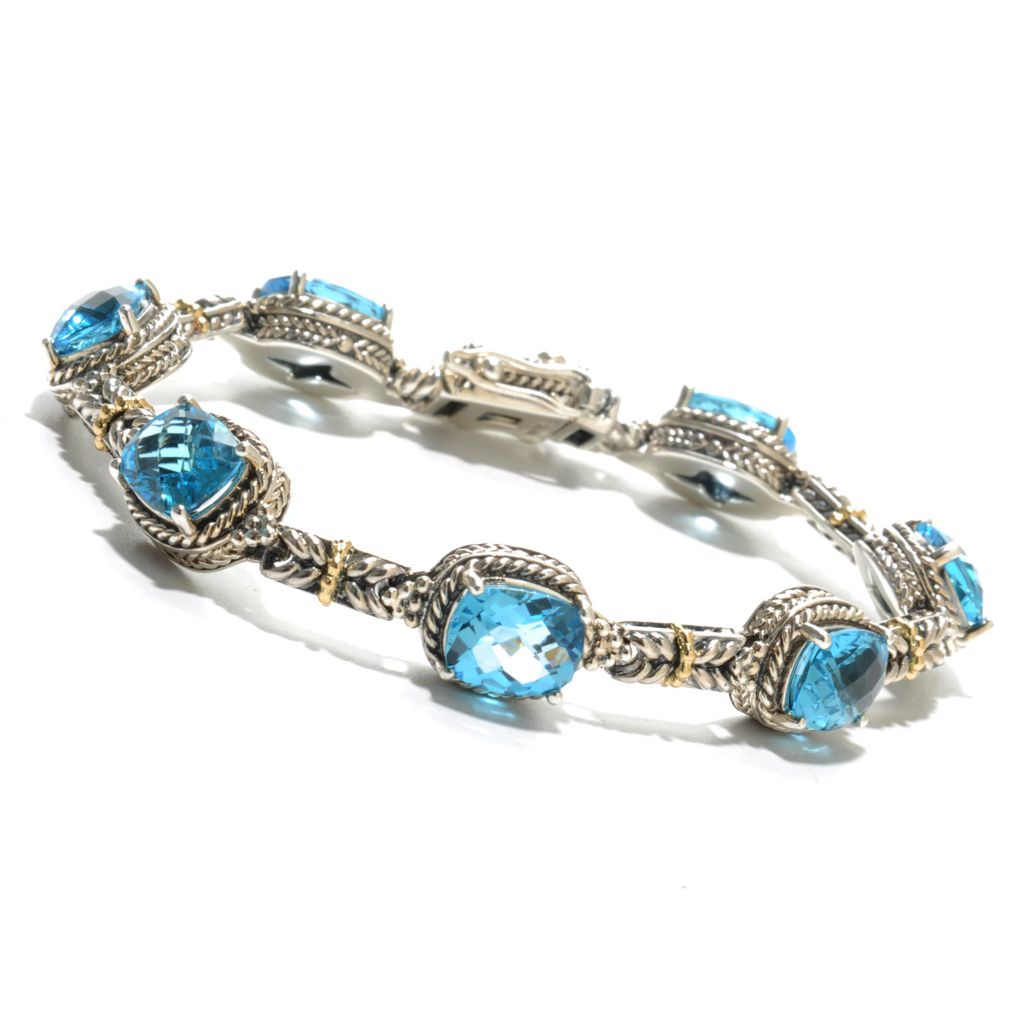 "136-867 - Artisan Silver by Samuel B. Two-tone 7.5"" Swiss Blue Topaz Station Bracelet"