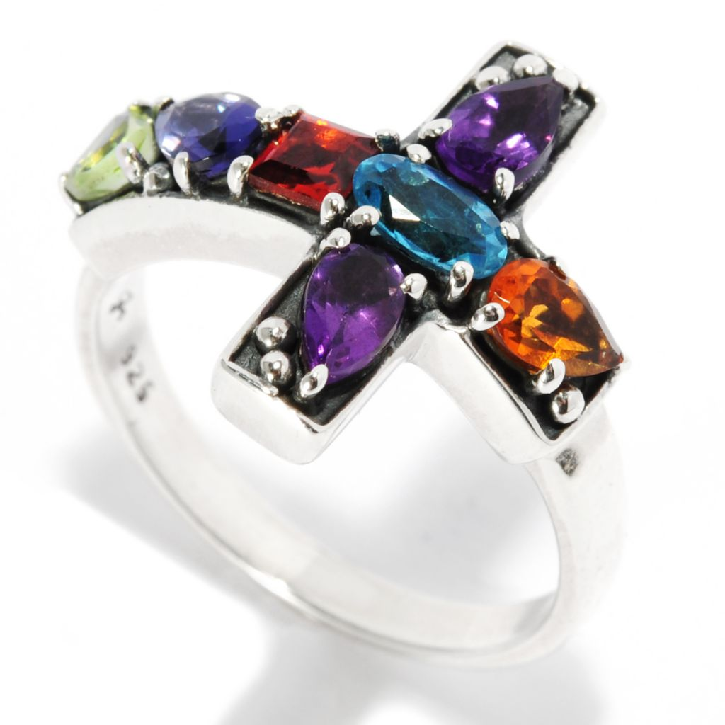 136-868 - Artisan Silver by Samuel B. 1.04ctw Multi Gemstone Sideways Cross Ring