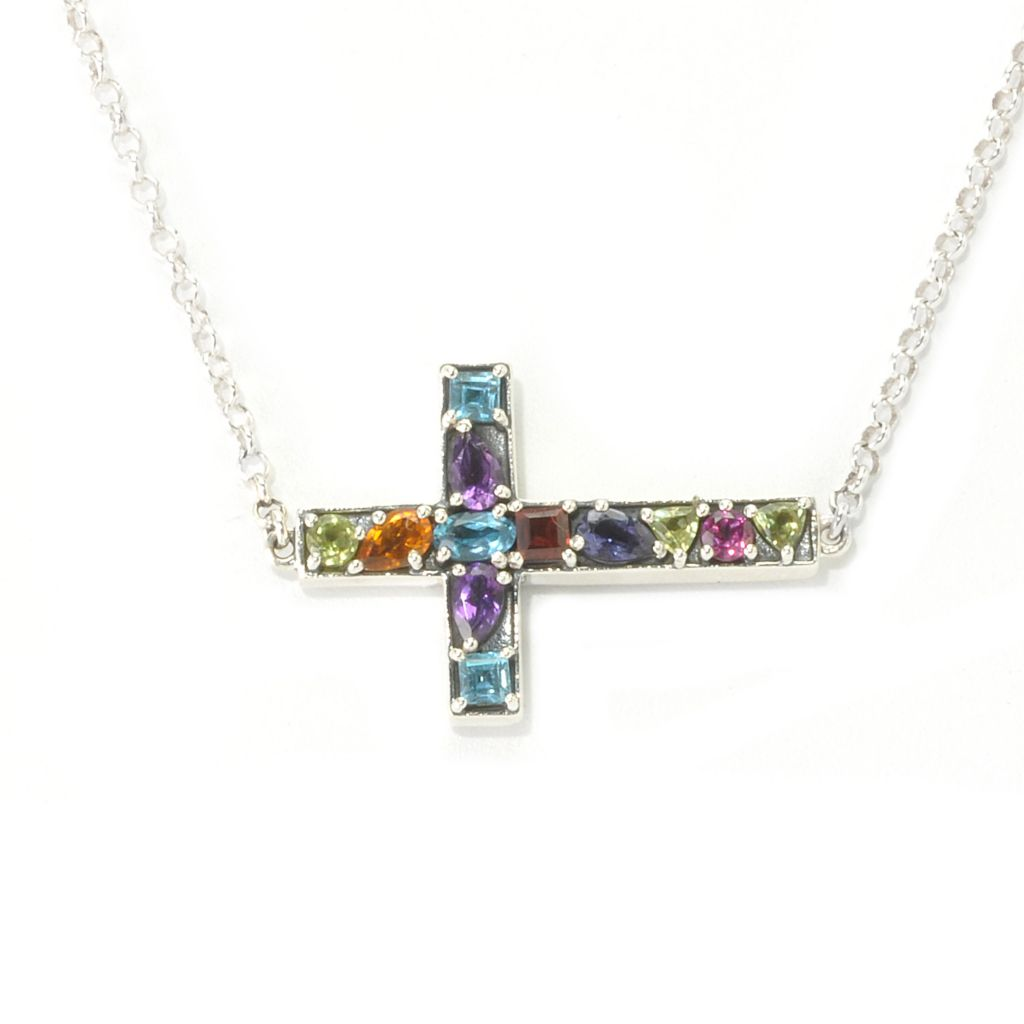 "136-869 - Artisan Silver by Samuel B. 18"" 1.67ctw Multi Gemstone Sideways Cross Necklace"