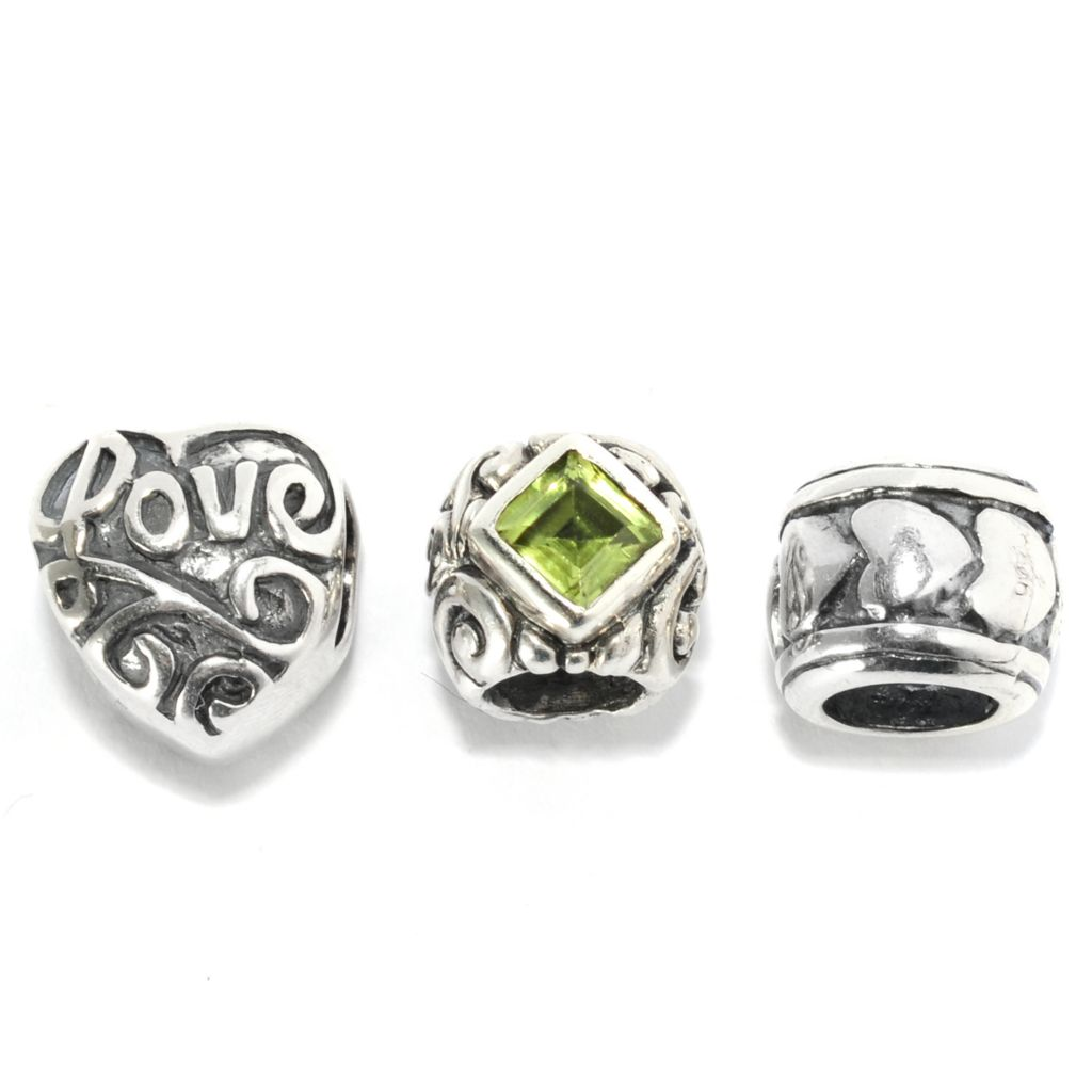 136-876 -  Artisan Silver by Samuel B. Set of Three Gemstone Swirl Love Charms