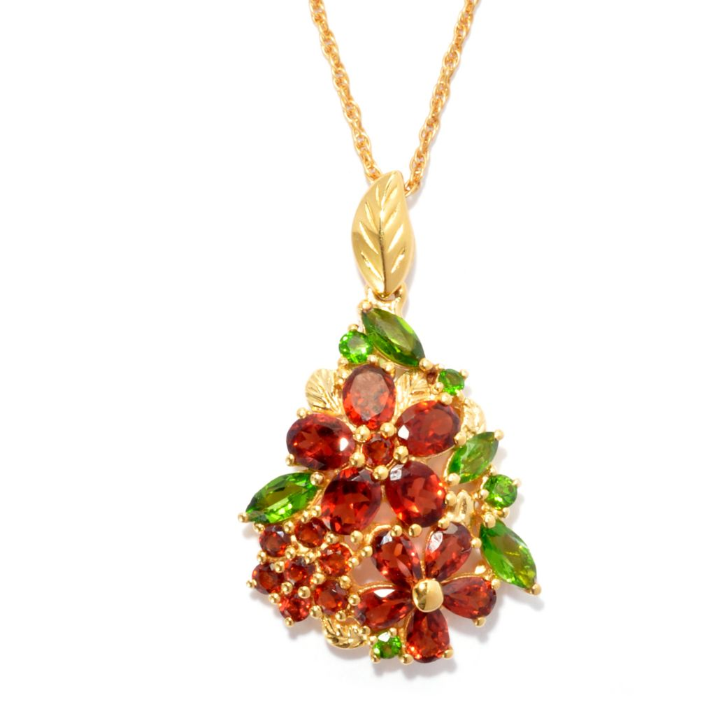 136-880 - NYC II 4.13ctw Garnet & Chrome Diopside Holiday Poinsettia Pendant w/ Chain