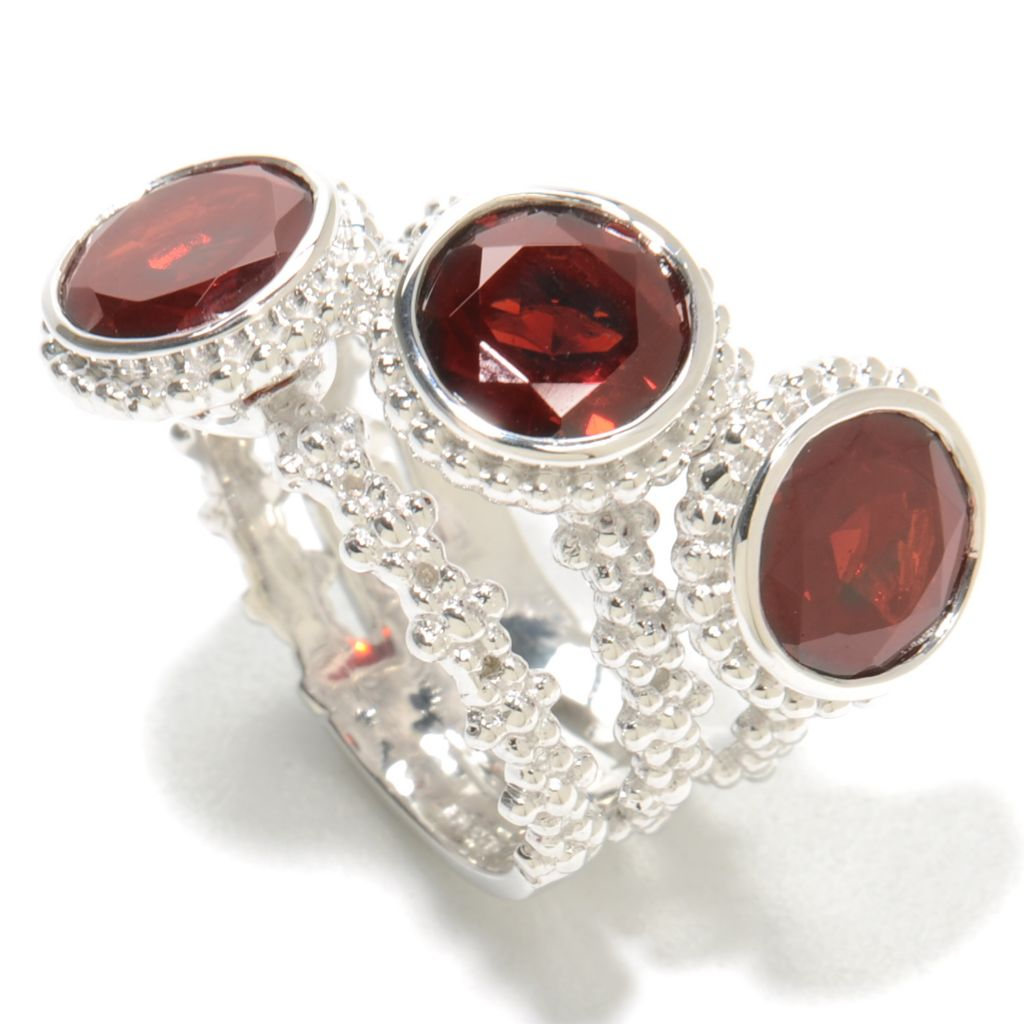 136-882 - Gem Treasures Sterling Silver 6.30ctw Garnet Three-Stone Split Band Ring