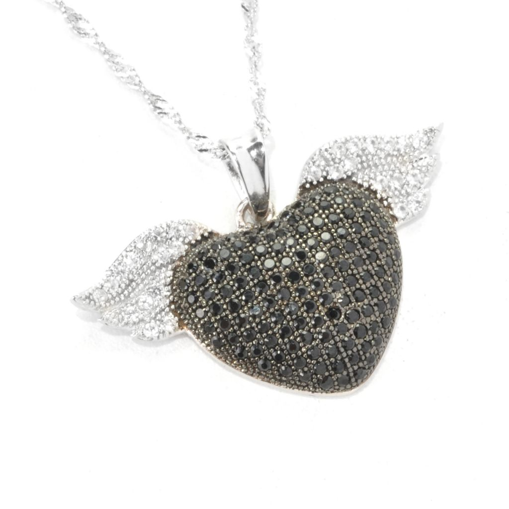 136-883 - Gem Treasures Sterling Silver Black Spinel & White Zircon Heart Pendant w/ Chain