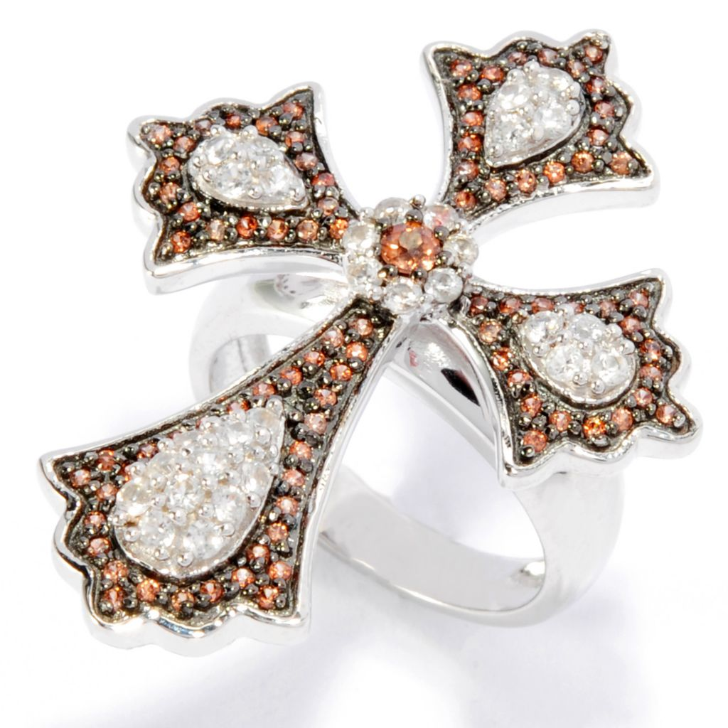 136-884 - Gem Treasures Sterling Silver 1.30ctw Mocha, Orange & White Zircon Cross Ring
