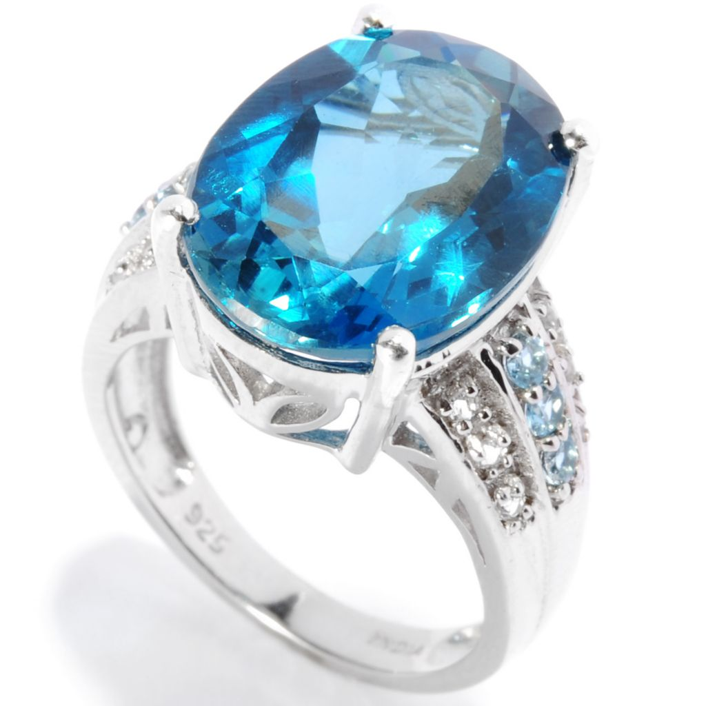 136-886 - Gem Insider Sterling Silver 9.96ctw London Blue Topaz, Swiss Blue Topaz & White Topaz Ring