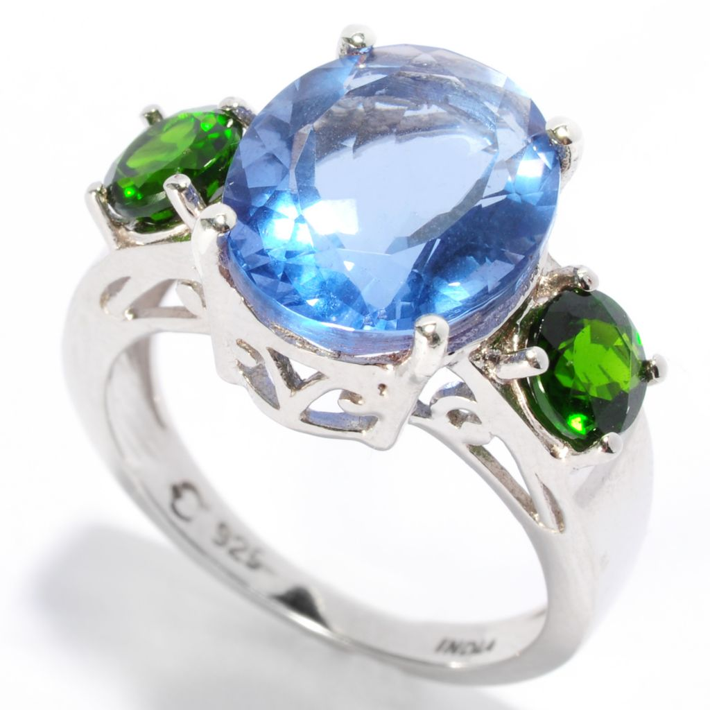 136-888 - Gem Insider Sterling Silver 6.26ctw Blue Fluorite & Chrome Diopside Ring