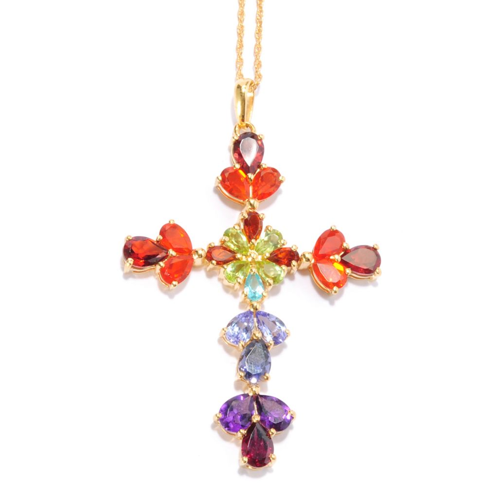 136-889 - NYC II 7.68ctw Pear Shaped Multi Gemstone Exotic Rainbow Cross Pendant
