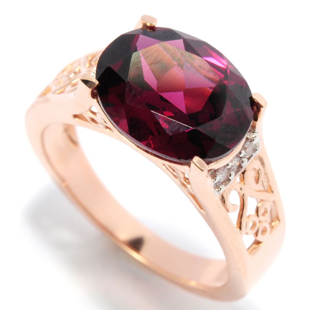 136-890 - Gem Treasures 14K Rose Gold 3.30ctw Rhodolite & Diamond Scrollwork Ring