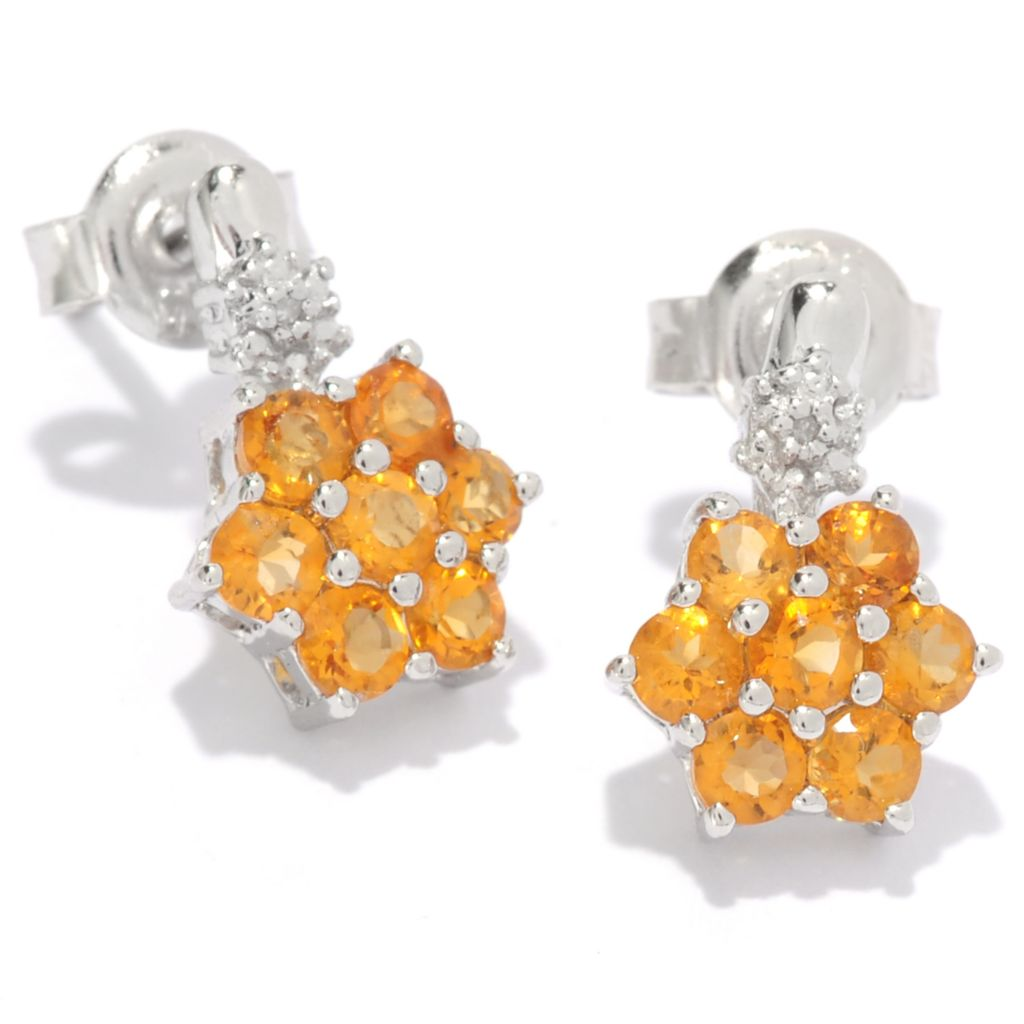 136-893 - Gem Treasures Sterling Silver Diamond & Gemstone Flower Earrings
