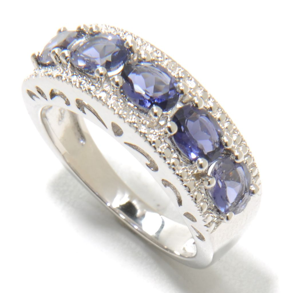 136-895 - Gem Treasures Sterling Silver 1.26ctw Iolite & Diamond Beadwork Band Ring