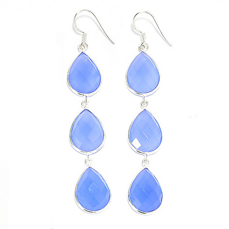 136-896 - Gem Treasures Sterling Silver 3'' 16 x 12mm Chalcedony Triple Drop Earrings