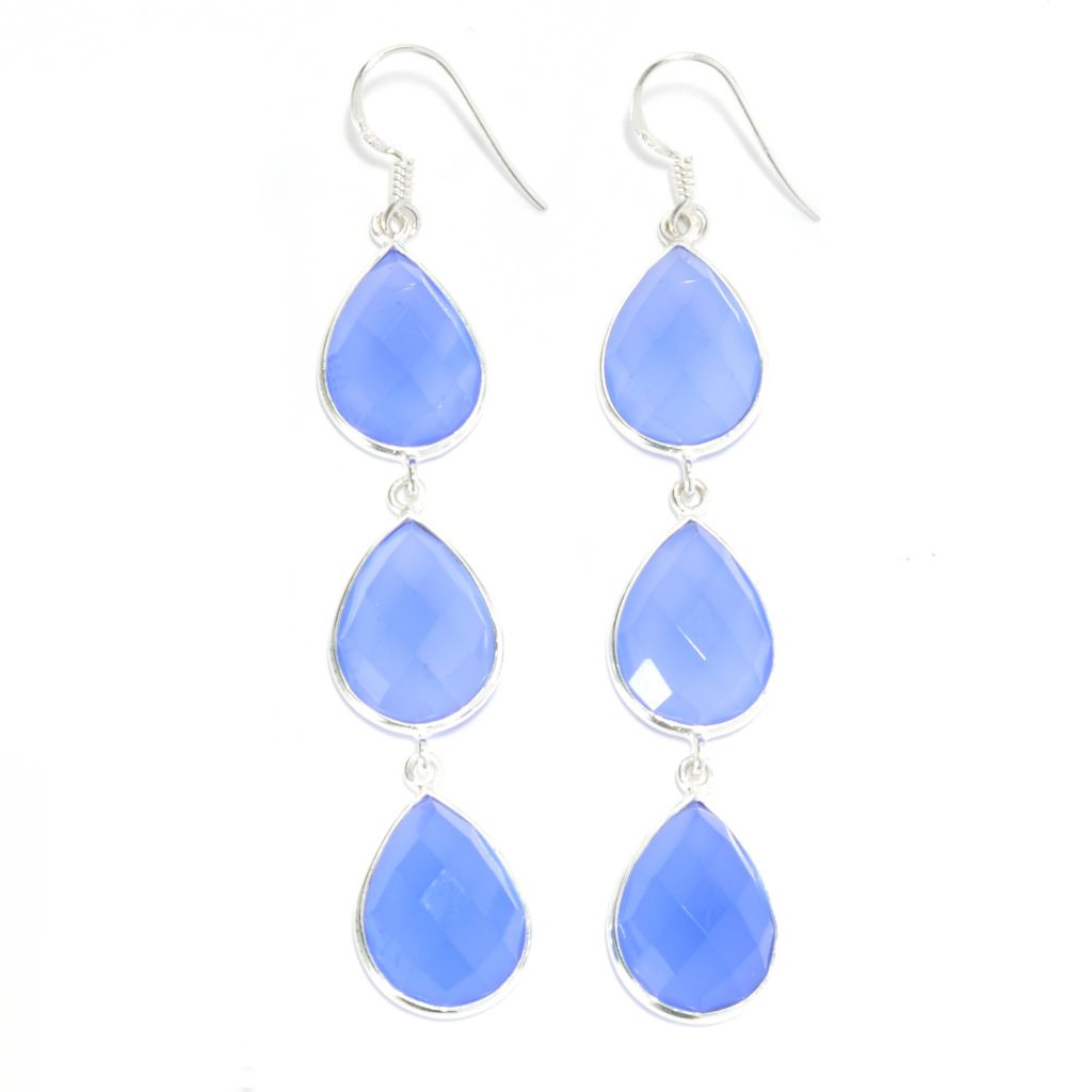 "136-896 - Gem Treasures Sterling Silver 3"" 16 x 12mm Chalcedony Triple Drop Earrings"