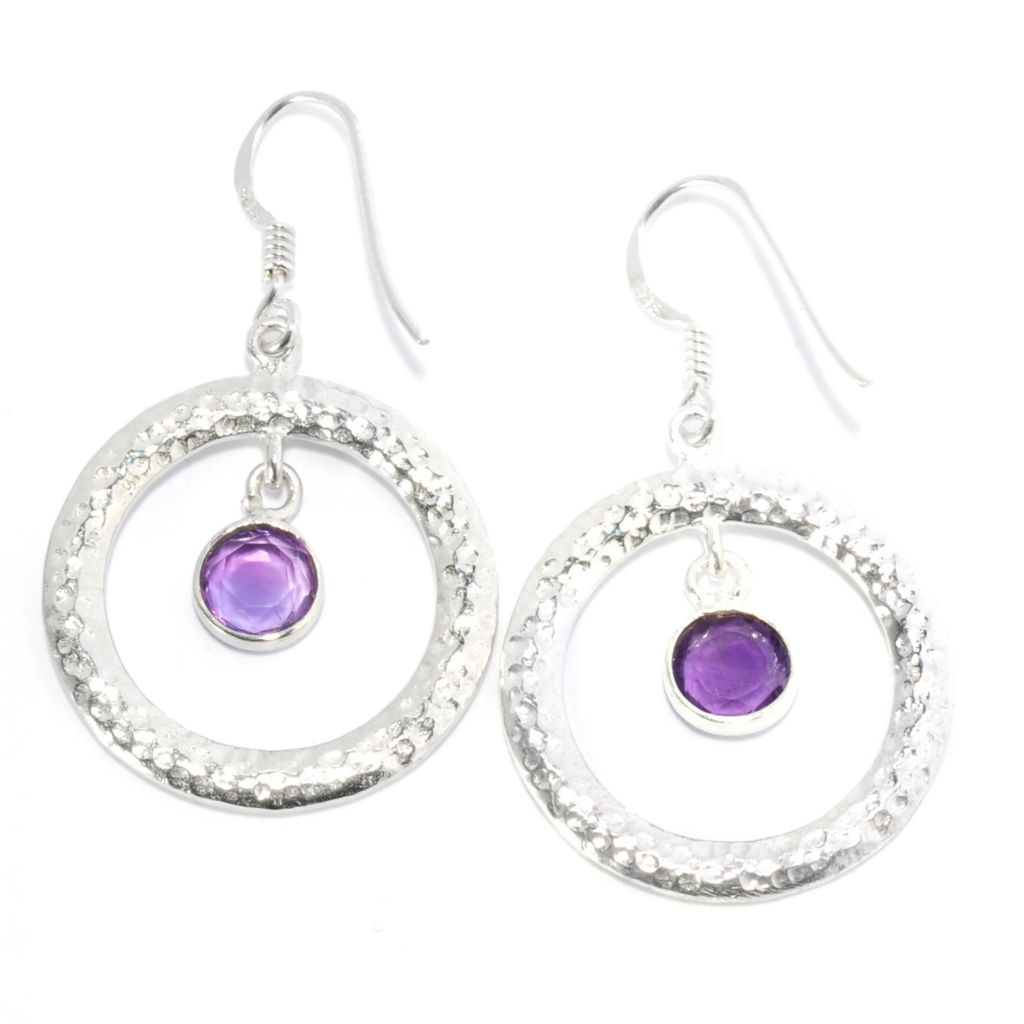 "136-897 - Gem Treasures Sterling Silver 1.5"" Amethyst Textured Circle Drop Earrings"