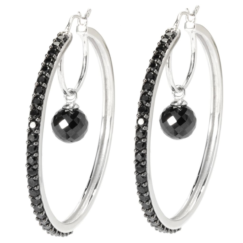 "136-898 - Gem Treasures Sterling Silver 2"" 14.60ctw Spinel Bead Center Hoop Earrings"