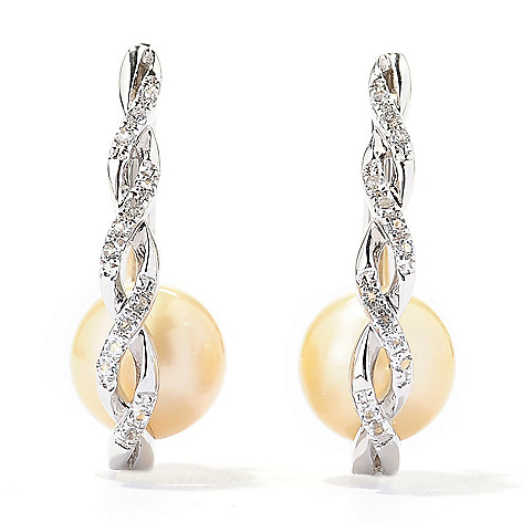 136-901 - Sterling Silver 1'' 9-10mm Golden South Sea Cultured Pearl & Topaz Hoop Earrings