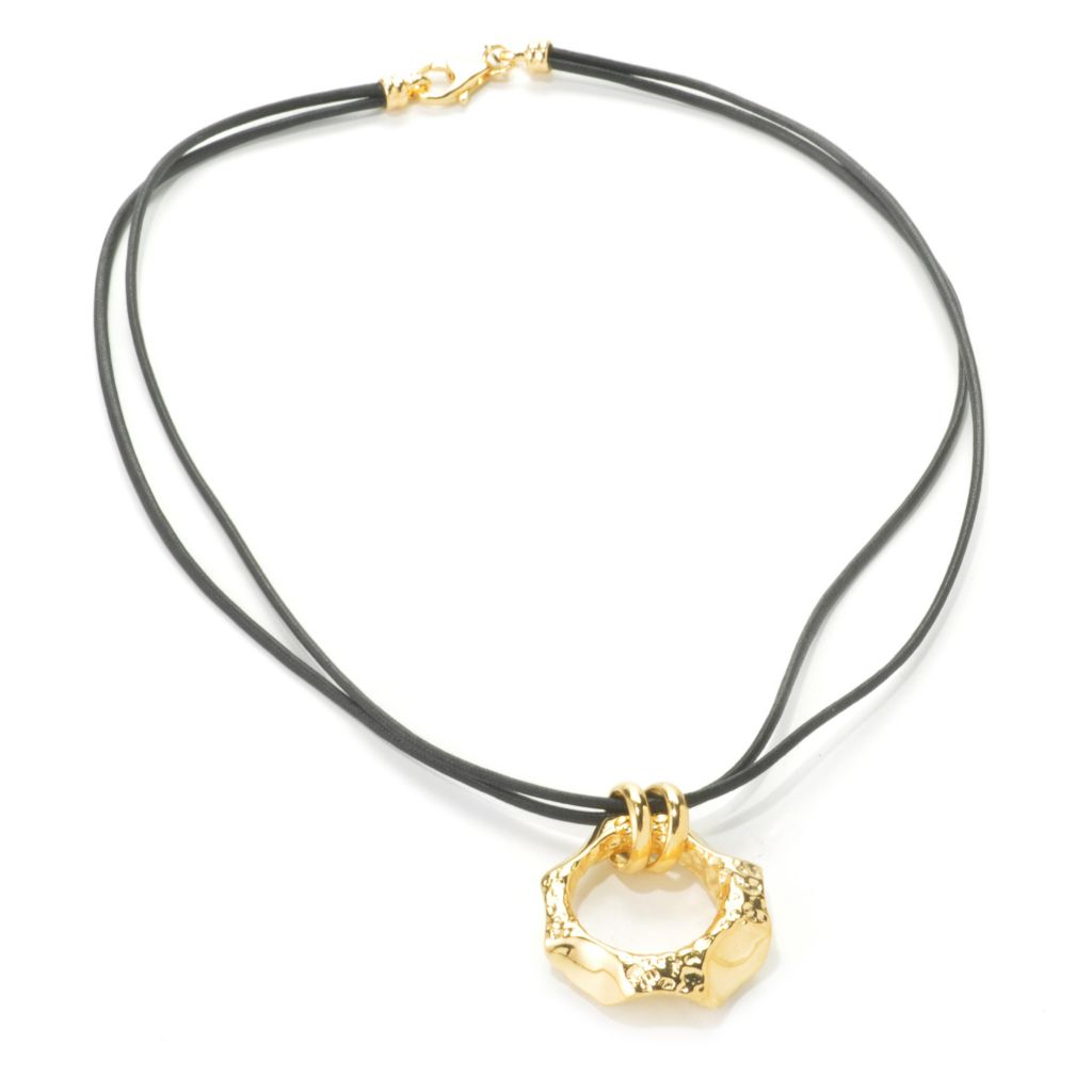 136-905 - Toscana Italiana 18k Gold Embraced™ Hammered & High Polished Geometric Pendant w/ Cord
