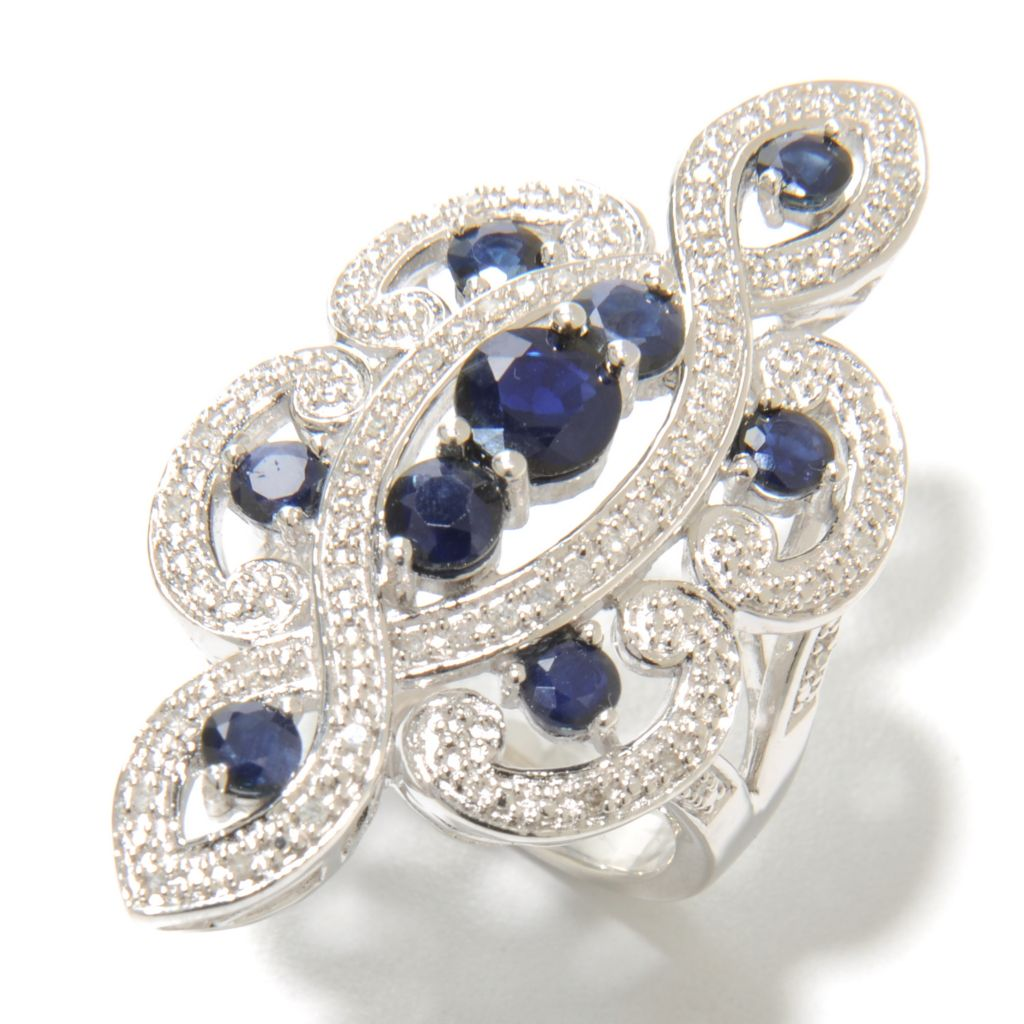 136-907 - Gem Treasures Sterling Silver 2.68ctw Round Sapphire & Diamond Intertwined Ring
