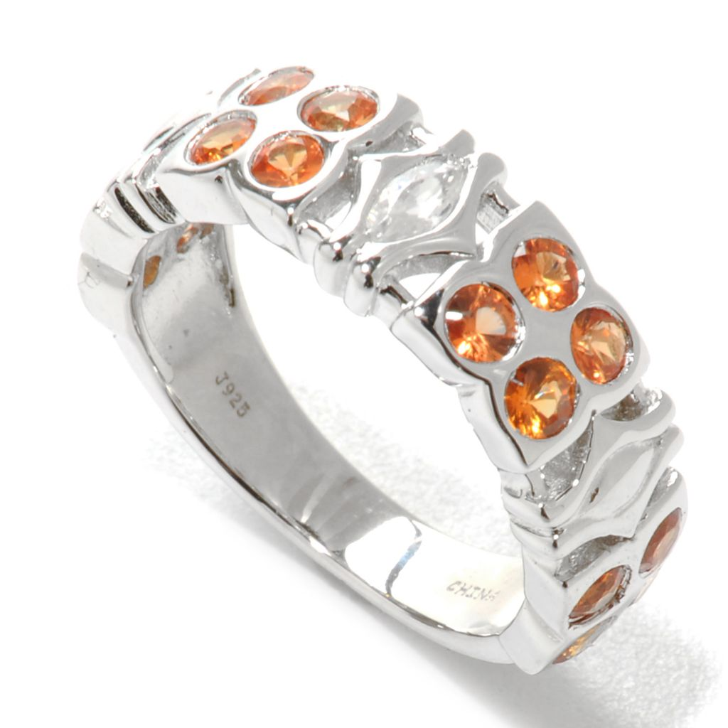 136-908 - Gem Treasures Sterling Silver 1.25ctw Orange Sapphire & White Zircon Band Ring