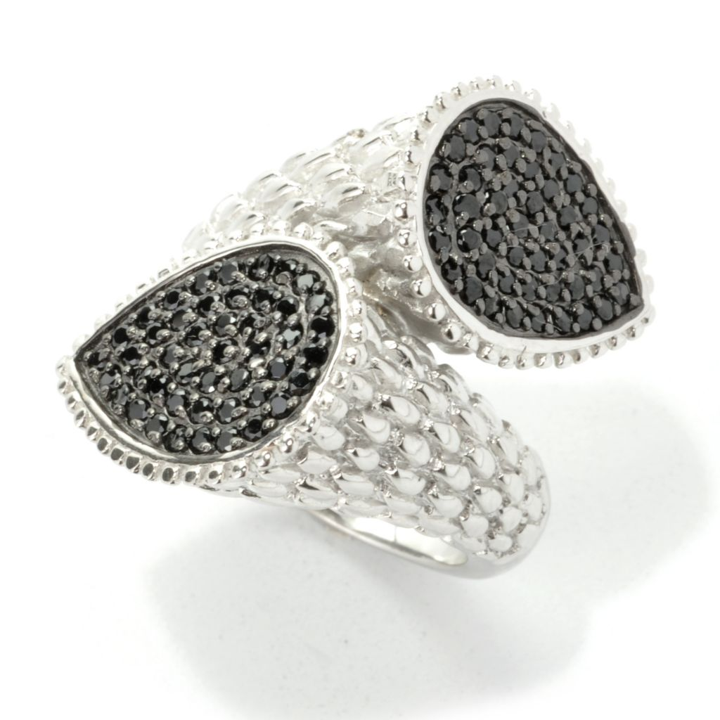 136-910 - Gem Treasures Sterling Silver Black Spinel Textured Bypass Ring