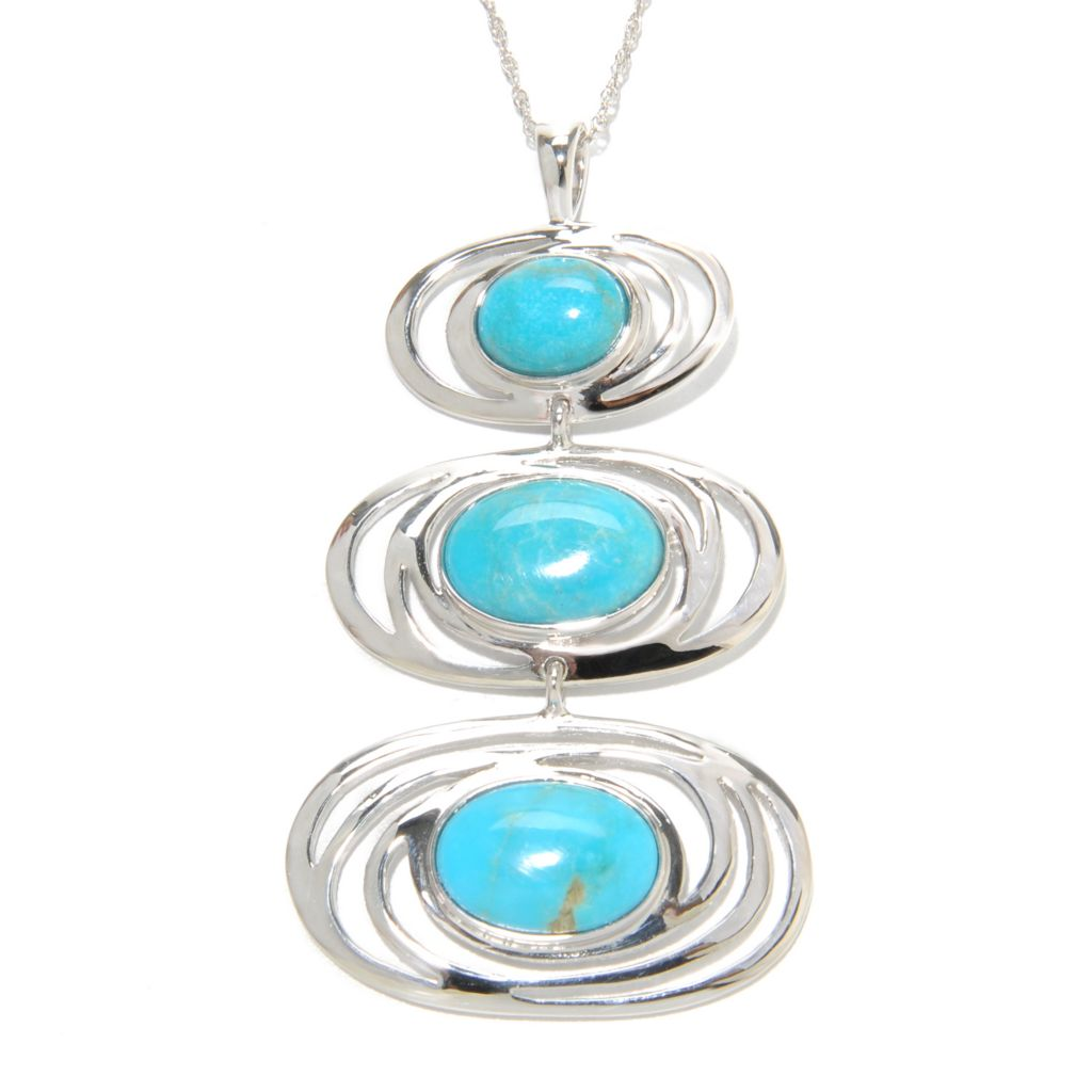 136-915 - Gem Insider Sterling Silver 14 x 10mm Oval Turquoise Triple Drop Pendant