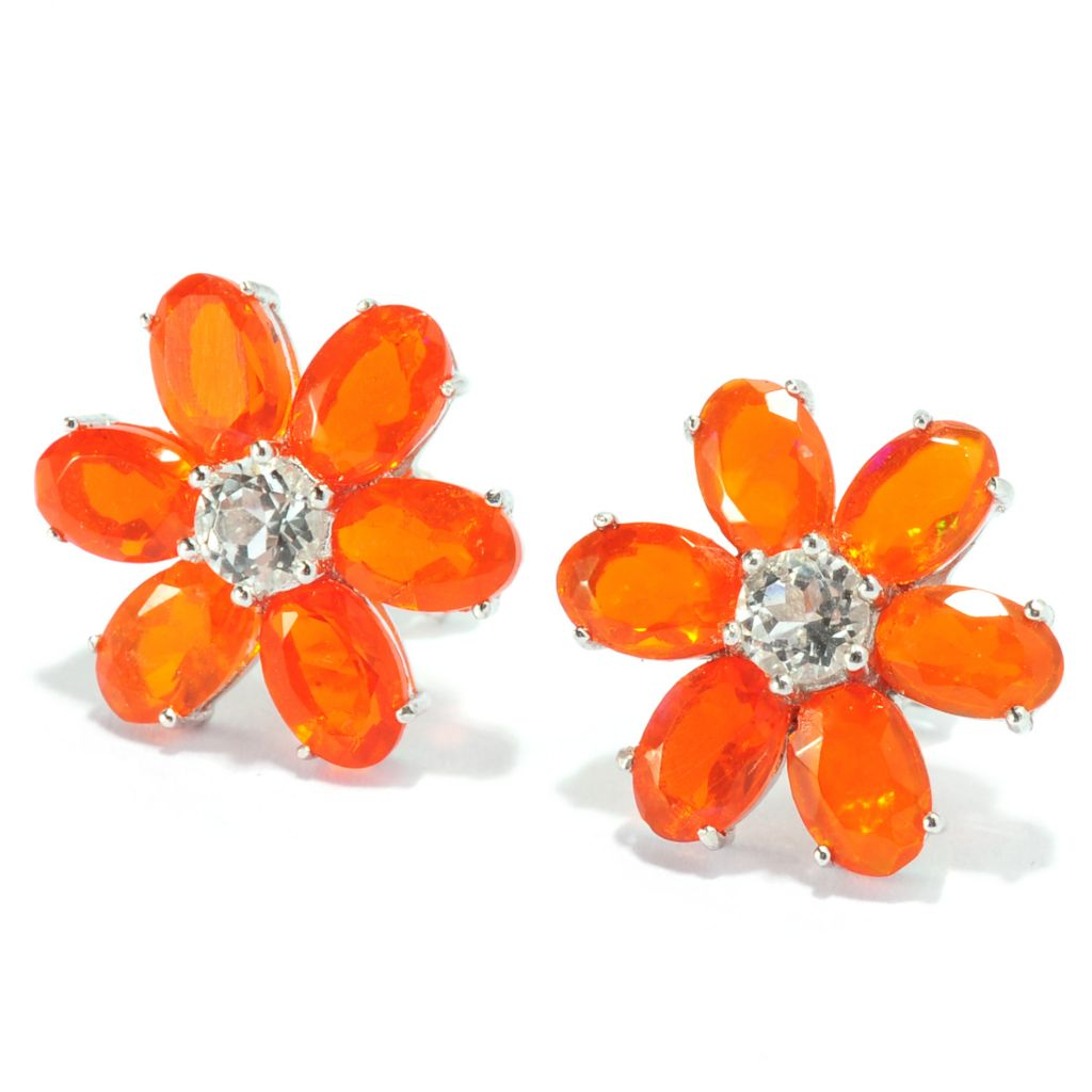 136-918 - Gem Treasures Sterling Silver Dyed Orange Ethiopian Opal & Topaz Earrings