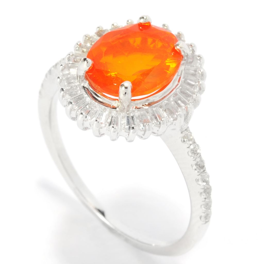 136-920 - Gem Treasures Sterling Silver 1.20ctw Dyed Orange Ethiopian Opal & Topaz Ring