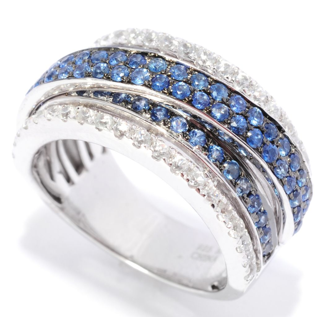 136-925 - Gem Treasures Sterling Silver 1.78ctw Sapphire & White Zircon Highway Ring