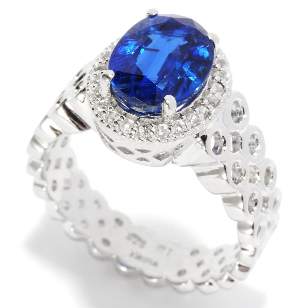 136-926 - Gem Treasures Sterling Silver 2.17ctw Kyanite & White Zircon Circle Band Ring